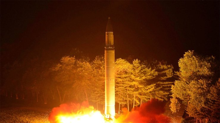 An intercontinental ballistic missile is test-fired from North Korea last month.