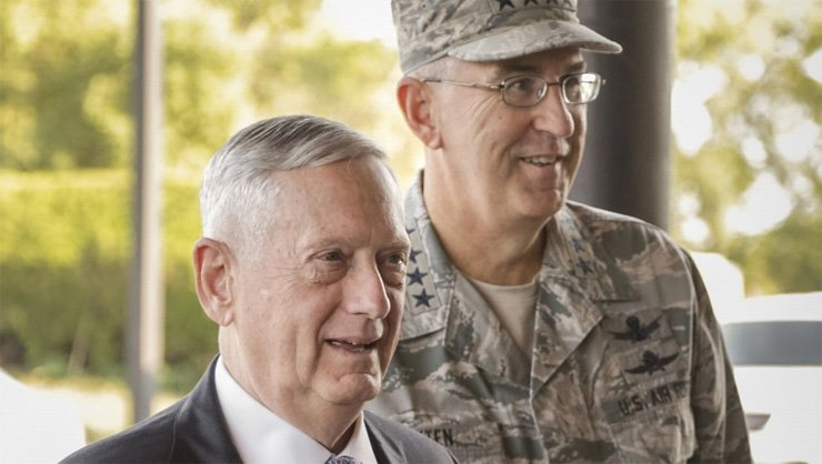 General John Hyten, the head of US Strategic Command (right), says US missile defence capability 'is built to go against North Korea's threat'. Hyten is shown with US Secretary of Defence Jim Mattis at Offutt Air Force Base in Bellevue, Nebraska.