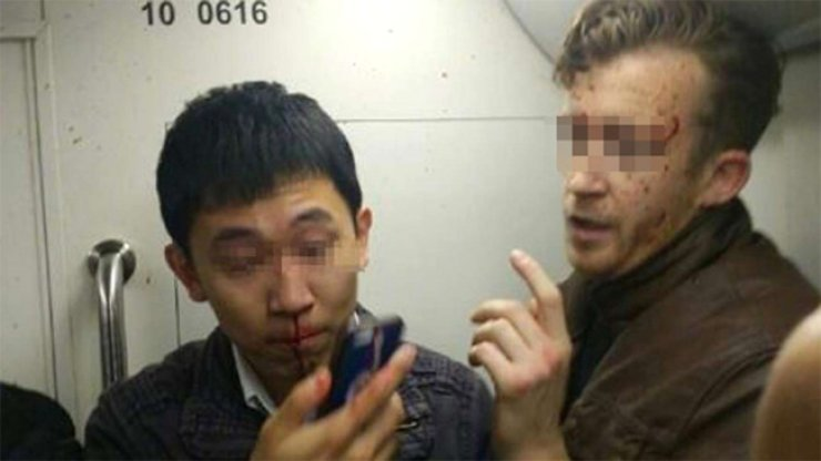The two men got into an altercation on the Beijing subway last Thursday.