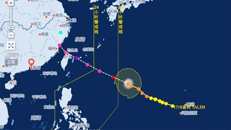 The projected path of Typhoon Talim is show in this screen capture of a satellite image taken from the China Meteorological Administration's website.