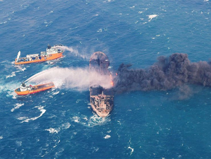 The Iranian oil tanker caught fire and lost power after the collision on Jan. 6, drifting southeast before it exploded and sank on Sunday. / Reuters