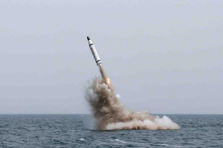North Korea successfully launches a submarine-launched ballistic missile (SLBM) in May. / Yonhap