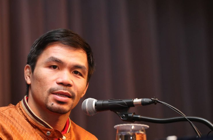 Manny Pacquiao speaks during a press conference at The-K Hotel in Seoul, Dec. 23. / Yonhap