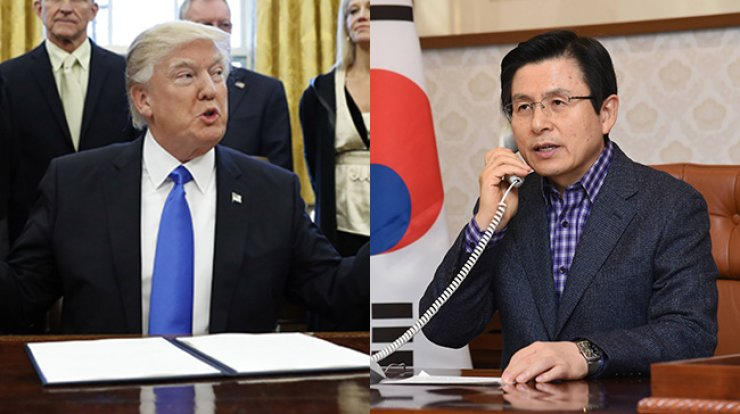 U.S. Presidnet Donald Trump (left) and Korea's Acting President and Prime Minister Hwang Kyo-ahn