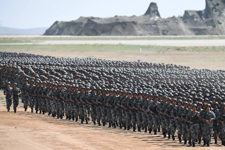 Troops prepare for a military parade at the Zhurihe training base in Inner Mongolia on Sunday. / South China Morning Post