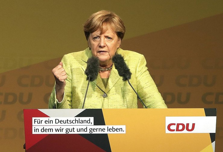 German Chancellor Angela Merkel speaks at an election campaign event of the Christian Democratic Union party in Finsterwalde, Germany, Sep. 6. / EPA-Yonhap
