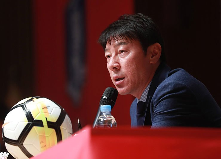 South Korean national football team head coach Shin Tae-yong announces the final entry for this year's FIFA World Cup at Seoul City Hall in Jung-gu, Seoul, May 14. / Yonhap