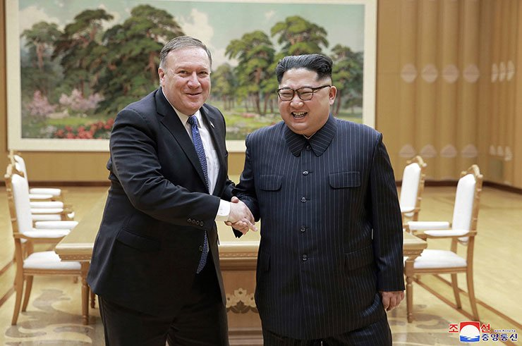 In this May 9, 2018, photo provided by the North Korean government, U.S. Secretary of State Mike Pompeo, left, shakes hands with North Korean leader Kim Jong-un during a meeting at Workers' Party of Korea headquarters in Pyongyang, North Korea. AP-Yonhap