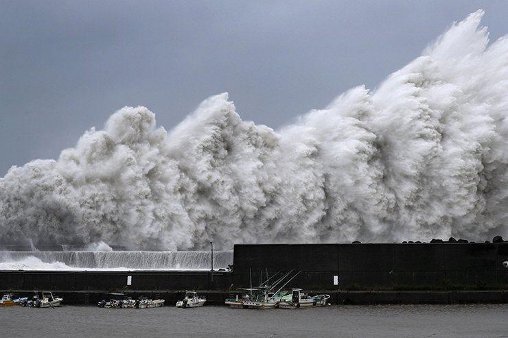 High waves triggered by Typhoon Jebi are seen at a fishing port in Aki, Kochi Prefecture, western Japan,?in this photo taken by Kyodo September 4, 2018. Kyodo-Reuters