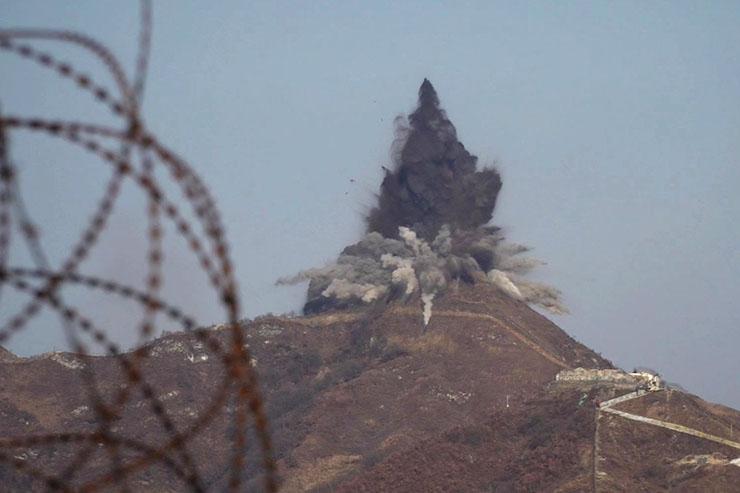 North Korea detonates DMZ guard posts at southern border. (SOUTH KOREA DEFENSE MINISTRY)
