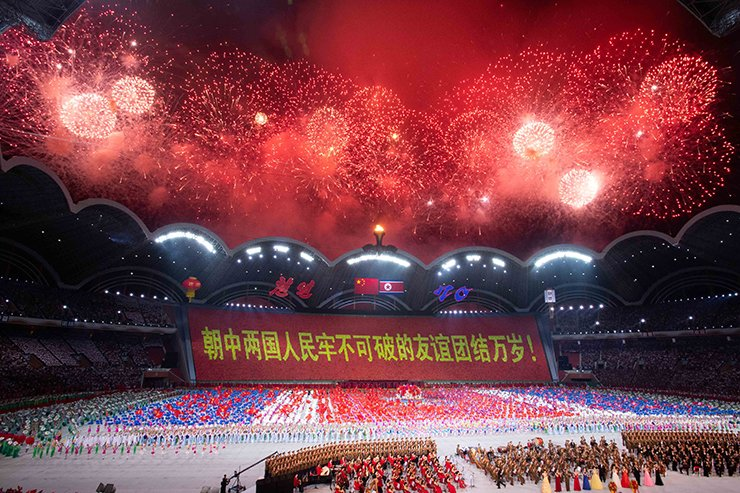 A large group callisthenics and art performance is held at the May Day Stadium in Pyongyang, DPRK, June 20, 2019. Xi Jinping, general secretary of the Central Committee of the Communist Party of China (CPC) and Chinese president, and his wife Peng Liyuan, accompanied by Kim Jong Un, chairman of the Workers' Party of Korea (WPK) and chairman of the State Affairs Commission of the Democratic People's Republic of Korea (DPRK) and his wife Ri Sol Ju, watched the perfromance here on Thursday. Xinhua