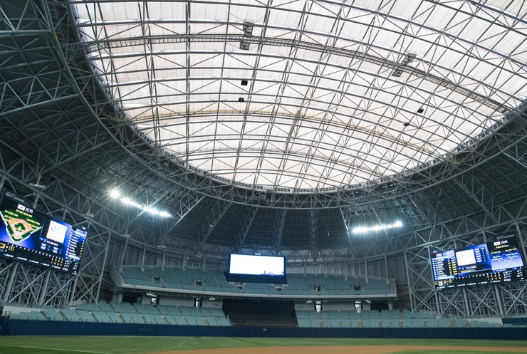 The Gocheok Sky Dome will feature three outfield screens as the domed ballpark added two new screens for the World Baseball Classic games next week. / Yonhap