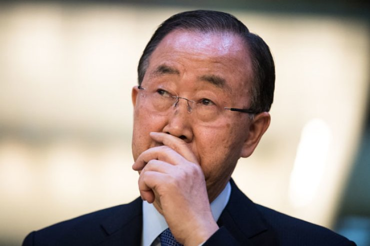 Former U.N. Secretary-General Ban Ki-moon looks pensive during a welcoming reception held at the official residence of Foreign Minister Yun Byung-se in Hannam-dong, Seoul, Friday. / Yonhap