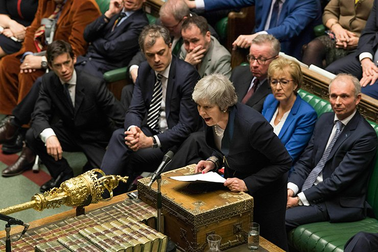 British Prime Minister Theresa May speaks in the House of Commons in London after losing a vote on her Brexit plan on Jan. 15. British lawmakers rejected May's Brexit deal by a huge margin, plunging U.K. politics into crisis 10 weeks before the country is due to leave the European Union. The House of Commons voted 432 -202 against the deal struck between Britain's government and the EU in November. AP