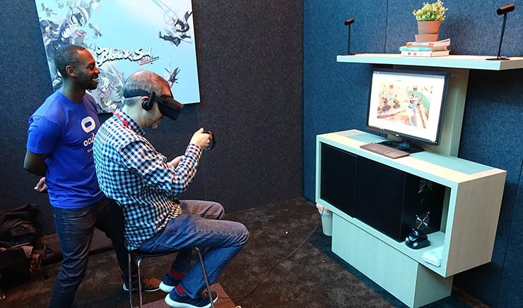 A visitor demonstrates NCSOFT's virtual reality game 'Blade & Soul Table Arena' wearing Oculus' head-mounted VR device during the Game Developers Conference 2017 at the Moscone Convention Center in San Francisco, Wednesday (local time). / Courtesy of NCSOFT