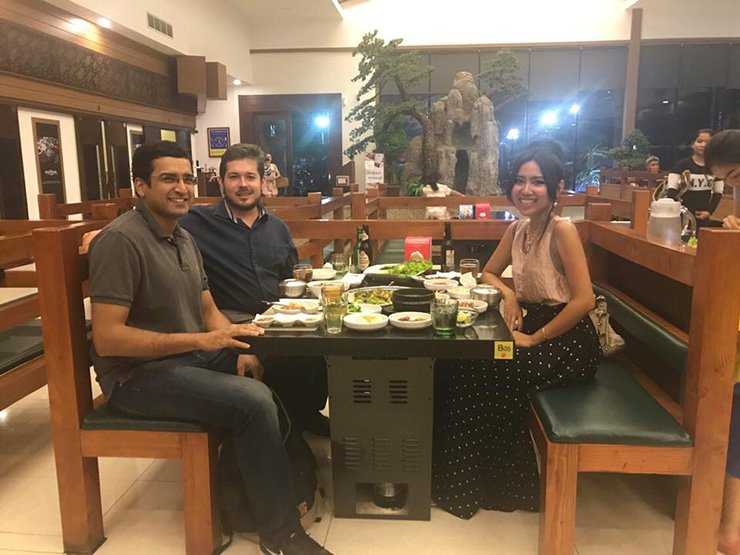 This image uploaded to Facebook on July 23 shows journalist Geoffrey Cain, center, dining in a Korean restaurant in Phnom Penh with Samathida Kem, right, daughter of Cambodia National Rescue Party (CNRP) leader Kem Sokha. The third man is an Indian national working in Cambodia as a lawyer. This picture fueled conspiracy theories that the CNRP is collaborating with the CIA.