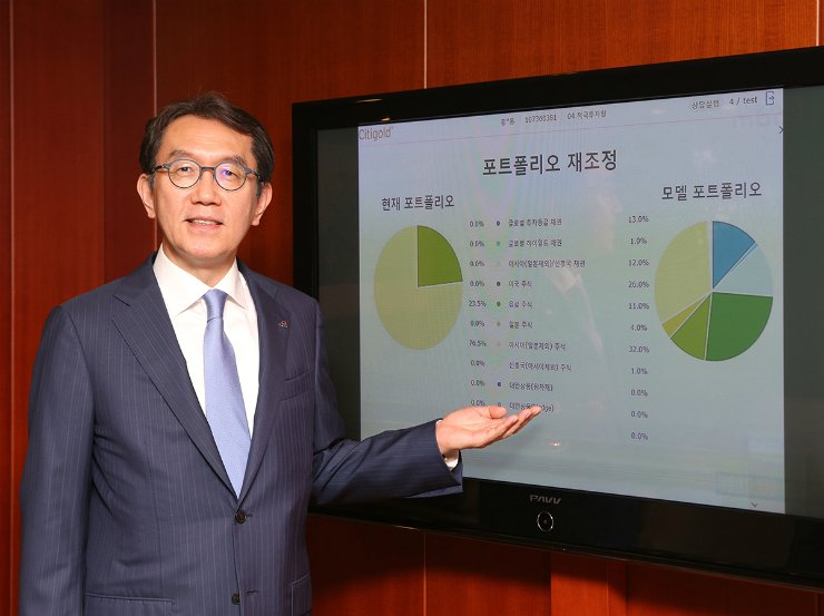 Citibank Korea CEO Park Jin-hei introduces the bank's wealth management services in this file photo. / Courtesy of Citibank Korea