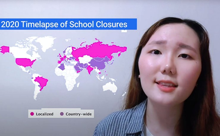 Grand prize winner of the middle & high school category Choi Min-ha is giving her presentation on the new normal in the post-coronavirus era, and how education would look like in the future. / Courtesy of Choi Min-ha