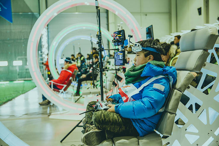 Pilots practice drone flying skills during a workshop at the DJI Arena in Yongin, Gyeonggi Province. / Courtesy of DJI Korea