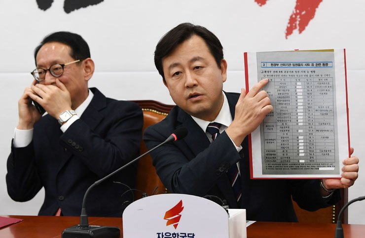 Rep. Kim Yong-nam of the Liberty Korea Party reveals the Ministry of Environment's list of the heads of ministry-affiliated organizations, outlining whether they were planning to resign or not, in a press conference at the National Assembly, Wednesday. / Korea Times photo by Hong In-ki