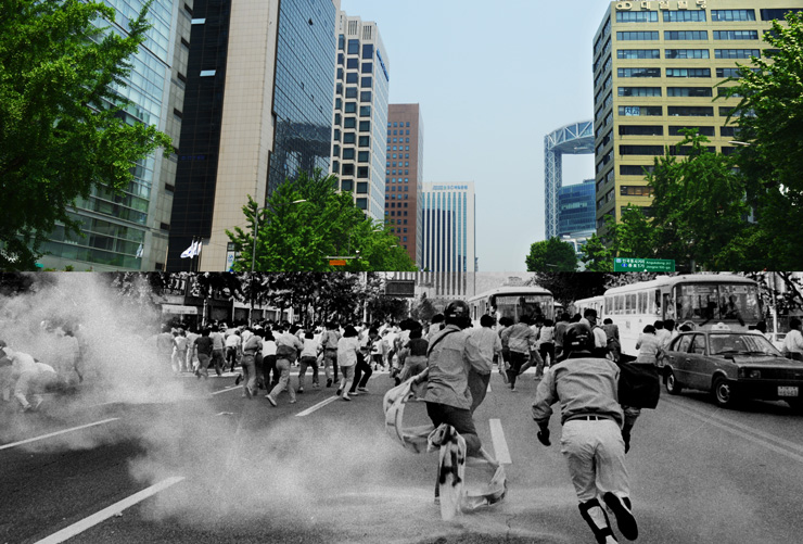 In this combined photo taken in front of Shinsegae Department Store in downtown Seoul, on June 10, 1987 and Wednesday, respectively, cars and buses, left, are running, while the protesters, right, take to the streets to fight the authoritarian military regime of the time. / Korea Times file