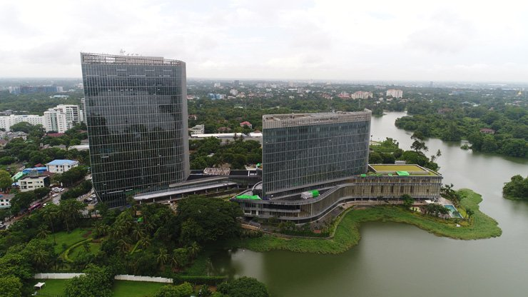 An aerial view of the Lotte Hotel Yangon, which will open Sept. 1 / Courtesy of POSCO Daewoo