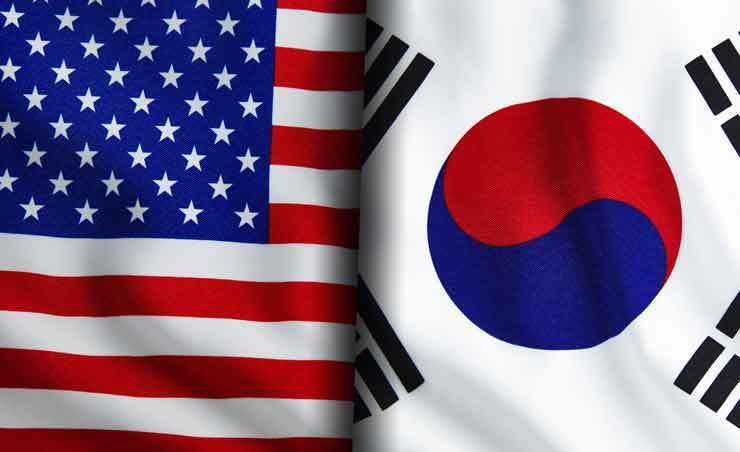 The flags of Republic of Korea, right, and the U.S. / Getty Images Bank