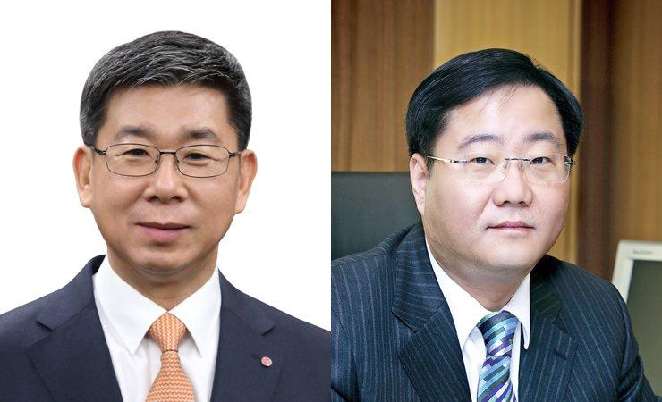 LG Hausys CEO designate Kang Gye-woong, left, and KCC Chairman Chung Mong-jin.