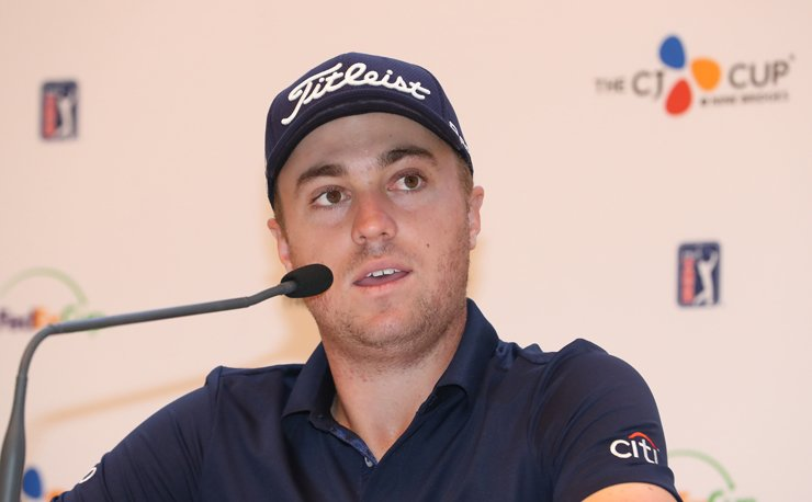 Justin Thomas speaks during a press conference for the inaugural CJ Cup on Jeju Island, Wednesday. / Yonhap