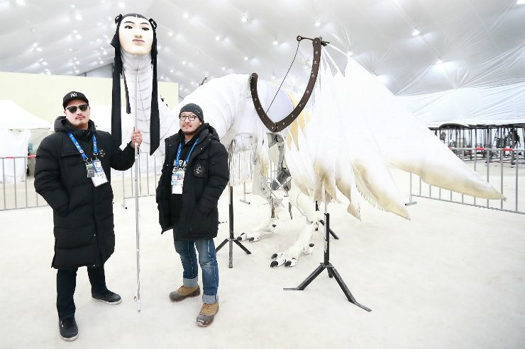 PyeongChang Olympics opening ceremony art directors Im Choong-il, left, and Bae Il-hwan with Inmyeongjo, a prop that appeared at the opening ceremony. / Courtesy of PyeongChang Olympics organizing committee