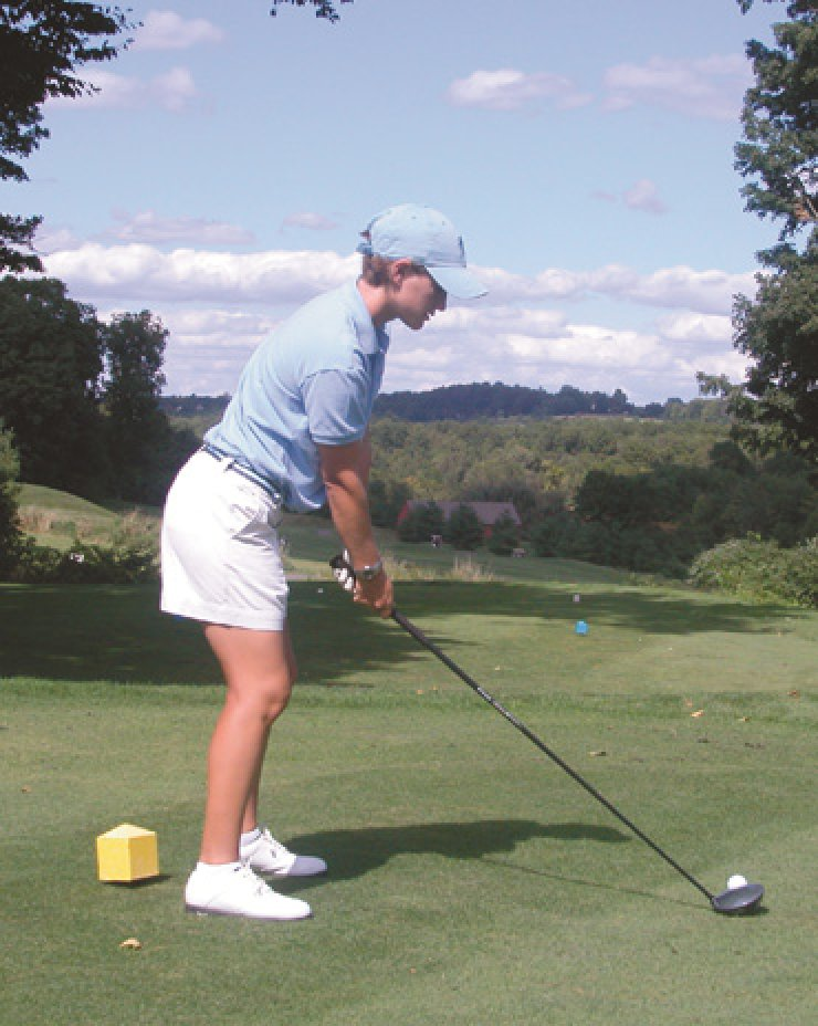 At address, the hips, shoulders and knees are parallel to the target line.At impact, the shoulders are closed to the hips, but open to the target line. Note that impact is much more dynamic than address.