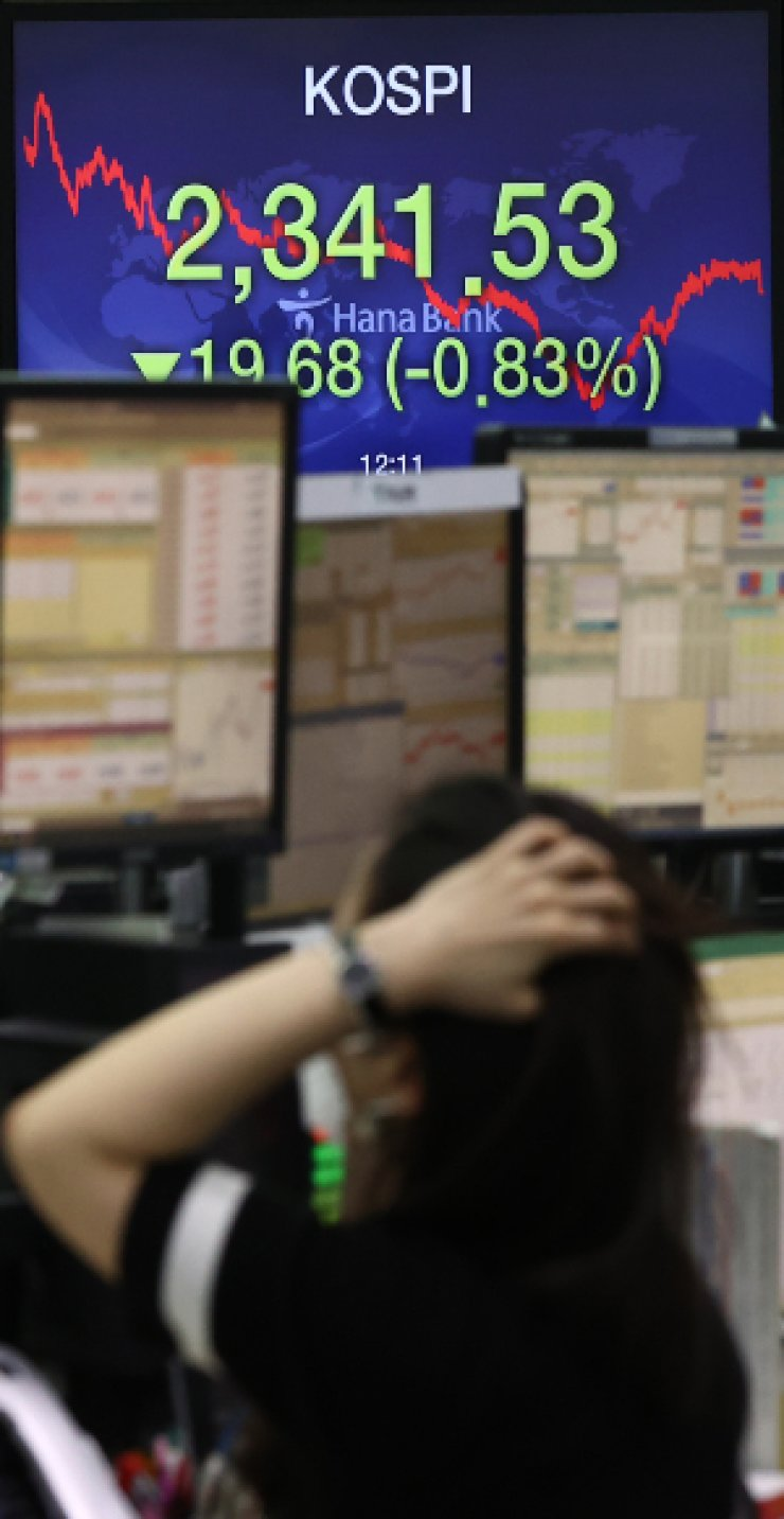 An electronic signboard in the dealing room of Hana Bank in Seoul shows the benchmark KOSPI having fallen 19.68 points, or 0.83 percent, to close at 2,341.53, Friday. Yonhap