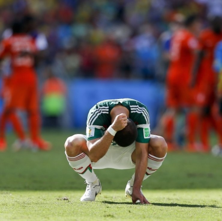 Mexico's Javier Hernandez punches the ground after the Netherlands defeated Mexico 2-1 to advance to the W0rld Cup quarterfinals in their match at Arena Castelao in Fortaleza, Brazil. /AP-Yonhap