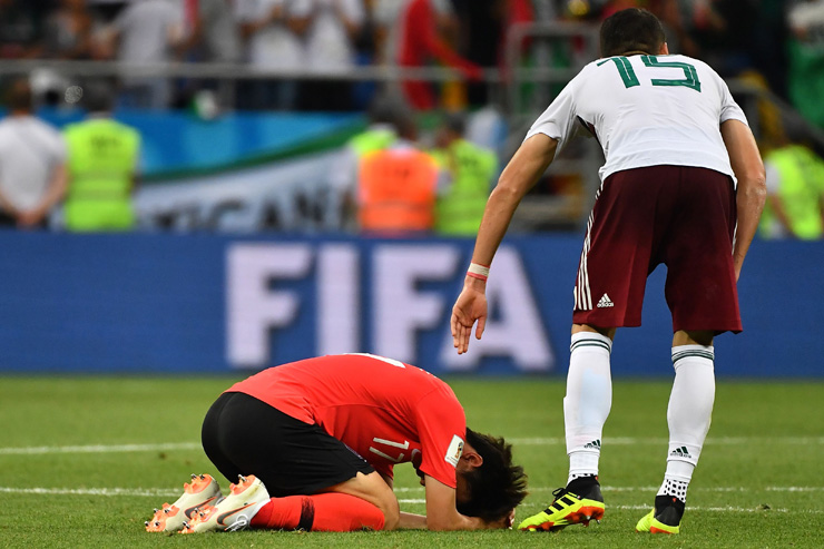 South Korea's Son Heung-min reacts after losing the FIFA World Cup 2018 group F preliminary game against Mexico at the Rostov Arena in Rostov-On-Don, Russia, Saturday. EPA