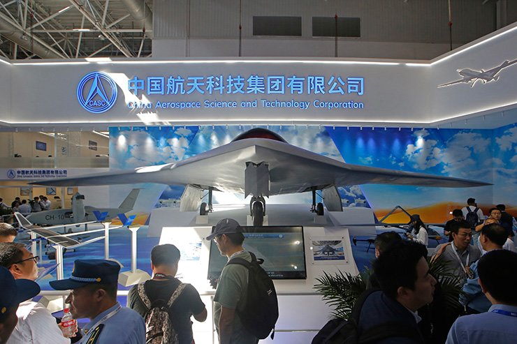 China's new-generation stealth unmanned combat aircraft prototype, the CH-7, is displayed during the 12th China International Aviation and Aerospace Exhibition, also known as Airshow China 2018, Tuesday, in Zhuhai city, south China's Guangdong province. AP