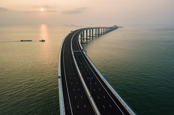 An aerial view taken on October 22, 2018, shows a section of the Hong Kong-Zhuhai-Macau Bridge in Hong Kong. The world's longest sea-bridge connecting Hong Kong, Macau and mainland China will be launched October 23, at a time when Beijing seeks to tighten its grip on its territories. AFP