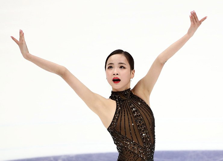 Figure skater Lim Eun-soo of South Korea performs during the ladies' free skating at the 2018 Rostelecom Cup, the fifth of six events in the 2018?19 ISU Grand Prix of Figure Skating, at the Megasport Arena in Moscow on Nov. 17. Yonhap