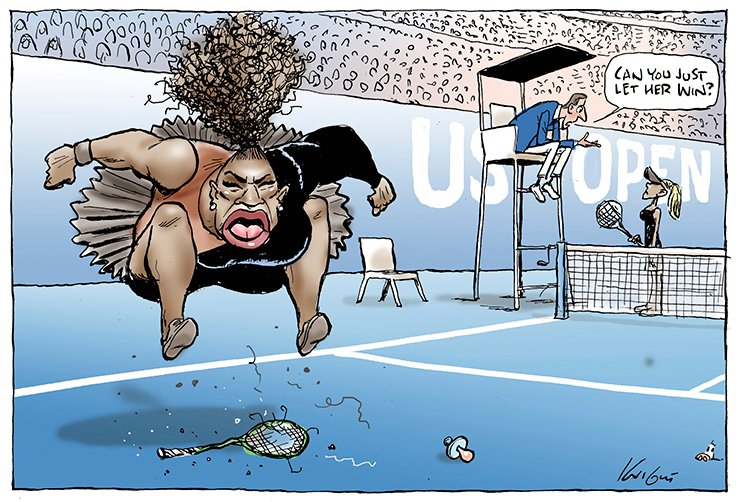 This Mark Knight's cartoon published by the Herald Sun depicts Serena Williams as an irate, hulking, big-mouthed black woman jumping up and down on a broken racket. The umpire was shown telling a blond, slender woman ? meant to be Naomi Osaka, who is actually Japanese and Haitian ? 'Can you just let her win?' Mark Knight/Heral Sun-News Corp. via AP