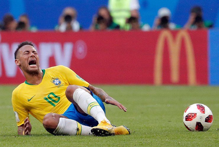 Neymar of Brazil reacts during the FIFA World Cup 2018 round of 16 match between Brazil and Mexico in Samara, Russia, Monday (local time). EPA
