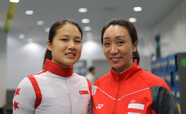 South Korean short track legend Chun Lee-kyung, right, currently Singapore's national team coach, and Cheyenne Goh, the first ever short-track speed skater from Southeast Asia to qualify for the Winter Olympics. / Courtesy of Chun Lee-kyung