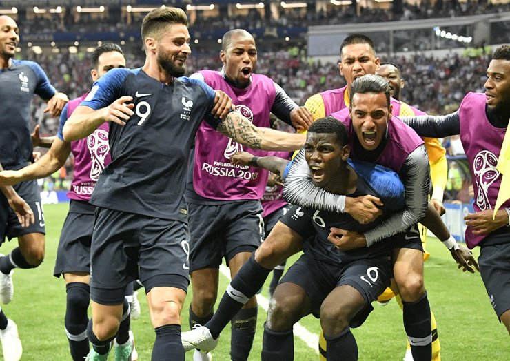 France's Paul Pogba celebrates after scoring his side's third goal during the final match between France and Croatia at the 2018 World Cup in the Luzhniki Stadium in Moscow, Russia, Sunday (local time). AP