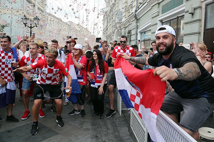 Croatia fans gather in Nikolskaya Street in the center of Moscow, Saturday. Croatia will face France in the final of the FIFA World Cup on July 15. EPA