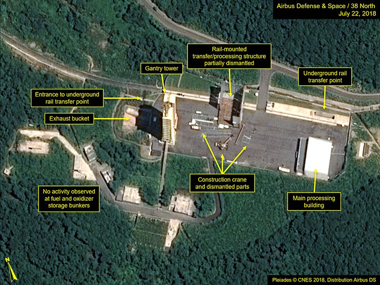 Satellite image courtesy of Airbus Defense and Space and 38 North obtained July 23 shows the apparent dismantling of facilities at the Sohae Satellite Launching Station, North Korea. North Korea appears to have started dismantling key facilities at a rocket-engine test center, a group of experts said, potentially marking a significant step after last month's summit between Kim Jong-un and U.S. President Donald Trump. AFP