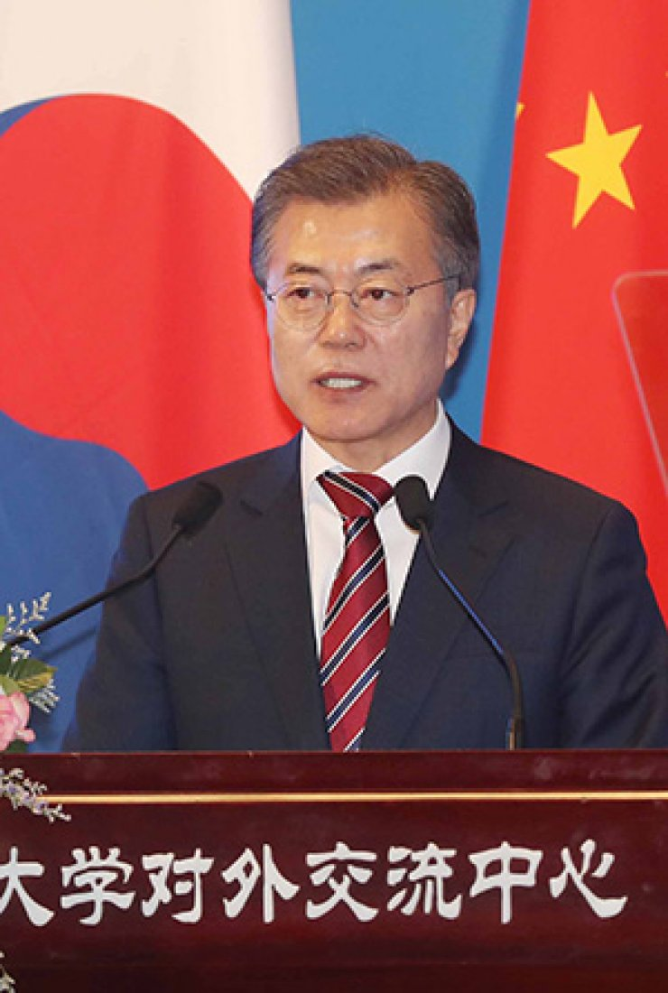 South Korean President delivers a speech at Peking University in Beijing during his state visit to China, Friday. / Yonhap