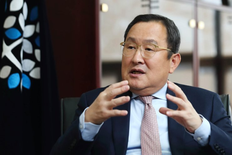Myongji University President You Byong-jin speaks during an interview with The Korea Times at the university's campus in western Seoul, Nov. 15. / Courtesy of Myongji University