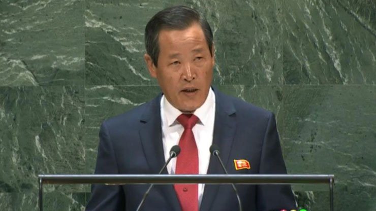 Kim Song, the head of the North's diplomatic mission to the United Nations. Capture from United Nations Web TV, Yonhap