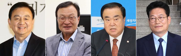 From left are Hong Seok-hyun, Lee Hae-chan, Moon Hee-sang and Song Young-gil, who were named special envoys to the U.S., China, Japan and Russia, respectively. / Yonhap