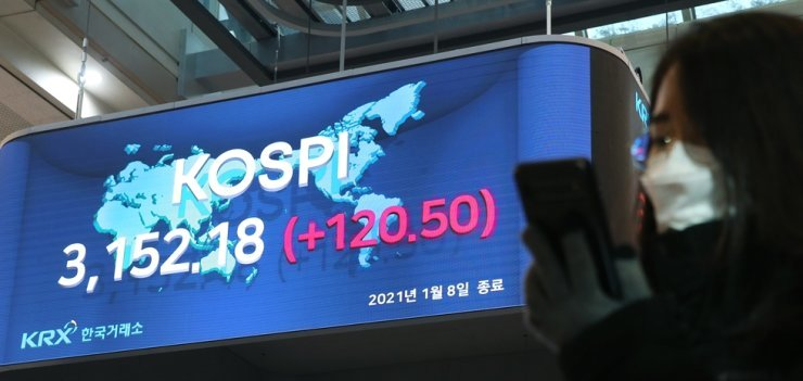 A monitor located in the lobby of the Korea Exchange's (KRX) building on Yeouido, Seoul, shows the KOSPI's all-time high closing price of 3,152.18 points set Friday. /Courtesy of KRX