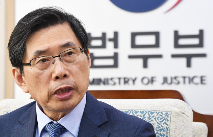 Justice Minister Park Sang-ki speaks during an interview with The Korea Times and the Hankook Ilbo at his office in Gwacheon, Gyeonggi Province, Thursday. Korea Times photo by Bae Woo-han