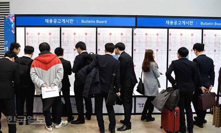 College graduates look at a bulletin board to find jobs at an event in Busan in this file photo. / Korea Times file